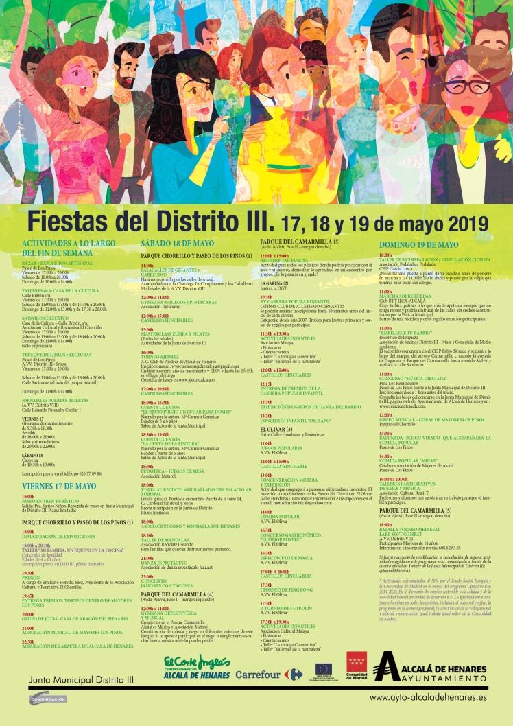 Cartel con programación Fiestas Distrito III 2019